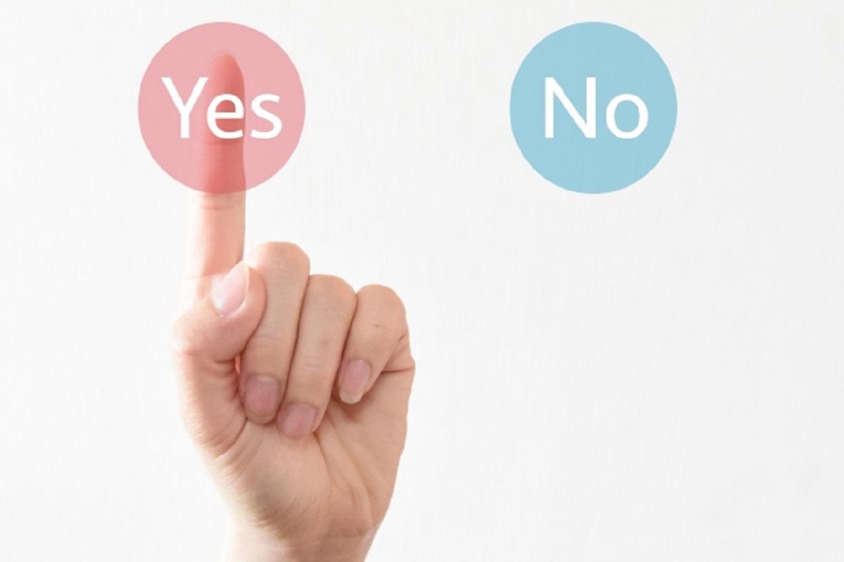 YesとNoの選択肢のなかでYesを選択している画像